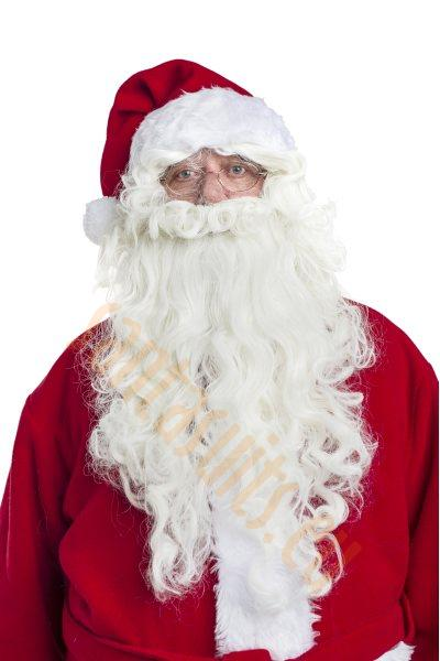 "long white Santa beard (12""/30cm) with wig - front view"