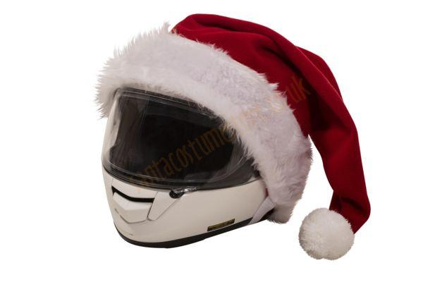 Santa hat for motorcycle helmets