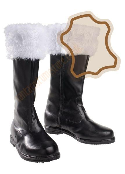 Real leather Santa boots (snow-white faux fur)