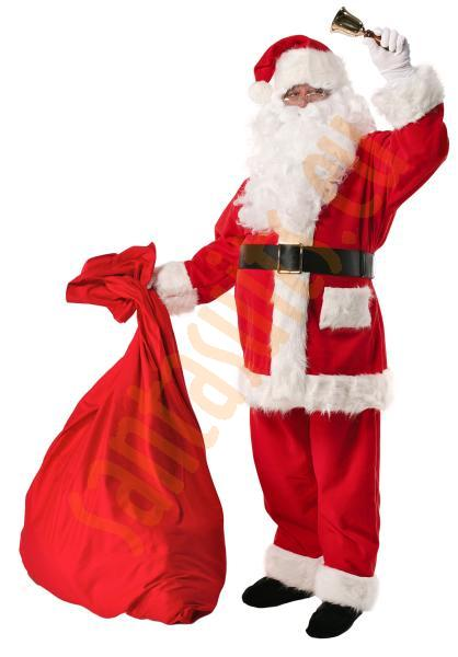 Santa suit with long fur - bell, gloves