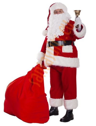 Super deluxe fleece Santa suit with jacket - full set (13 parts plus 4 accessories)