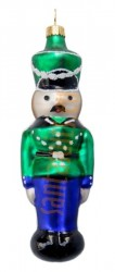 Blue & green tin soldier ornament