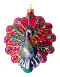 Pink & turquoise peacock ornament