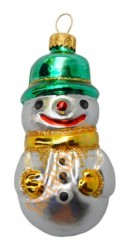 Green & gold snowman in hat ornament