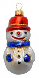 Blue & red snowman in hat ornament