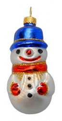 Red & blue snowman in hat ornament