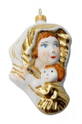 Gold & white Mary and Child ornament