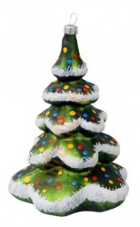 Large green decorated Christmas tree ornament