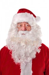 classic white Santa beard with wig