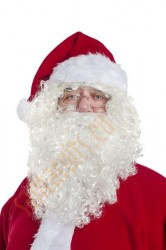 short curly white Santa beard with wig