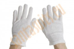 white cotton gloves, short Santa gloves
