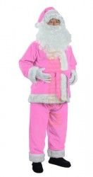 pink Santa suit made of fleece - jacket, trousers and hat