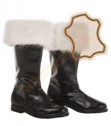 Real leather Santa boots (ecru faux fur)