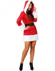 Miss Santa suit, short red hooded velour dress with faux fur