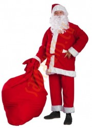 Santa suit made of fleece - glasses/sack for presents