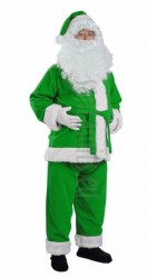 green Santa suit made of fleece - jacket, trousers and hat