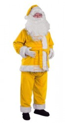 yellow Santa suit made of fleece - jacket, trousers and hat