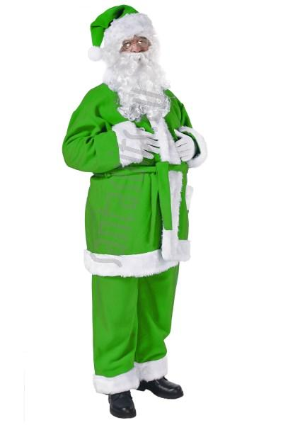 Green santa suit jacket trousers and hat suits